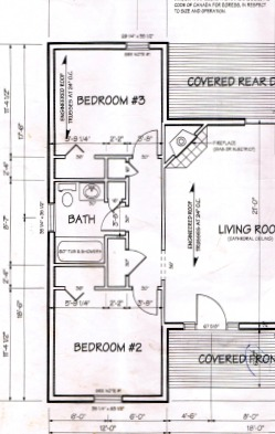Blueprint of two bedrooms and a three piece bath.