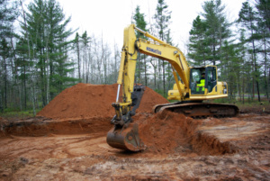 Digging a basement with a excavator