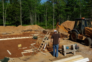 A foundation contractor at work