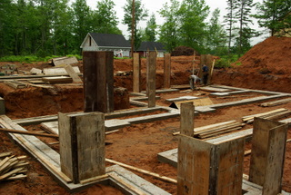 Setting up foundation forms for a new house