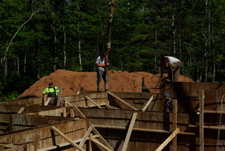 Pouring concrete for a foundation