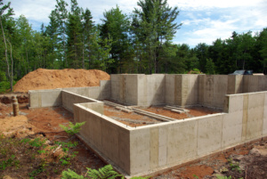 A concrete foundation after the forms are of