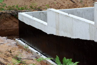A picture of foundation coating applied to a foundation