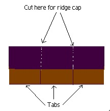 A graphic showing how to cut a 3tab shingle for ridge cap.