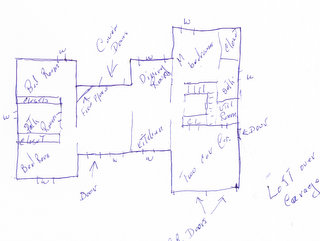 A rough drawing of a new home plan