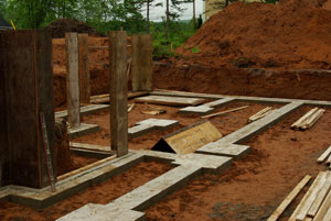 Pix. of footings after being poured with concrete