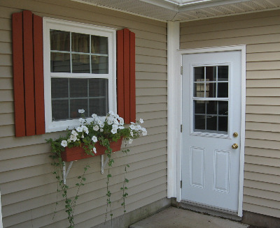 A picture of a window and a door