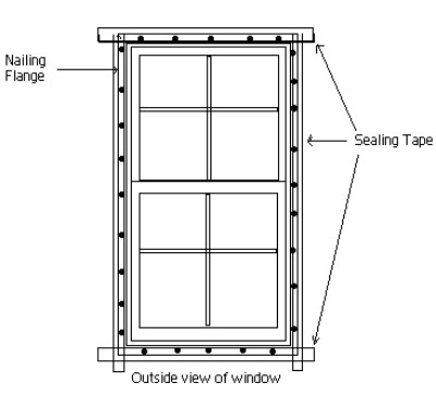 Vinyl window nailing and sealing detail